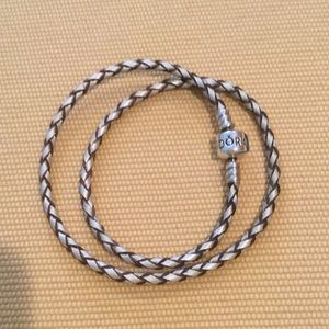 Pandora Champagne-Colored Braided Double Bracelet